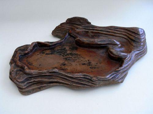 Large and very unusual ink stone of soapstone (shoushanshi)