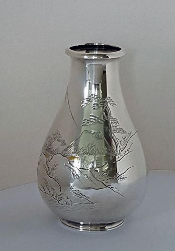 Japanese Pure Silver Vase. Mark Miyamoto Kinsei, made by Bishin
