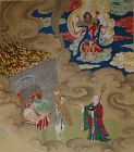 Impressive Shuilu painting on silk depicting Ksitigarbha (Dizang)