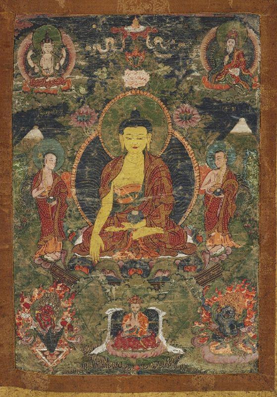 A Bhutanese Drugpa Kagyu Thangka with Sakyamuni. 19th cent