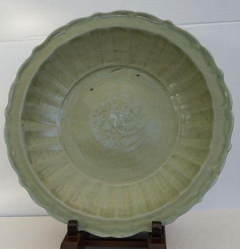 Ming Dinasty Celadon Longquan large charger.