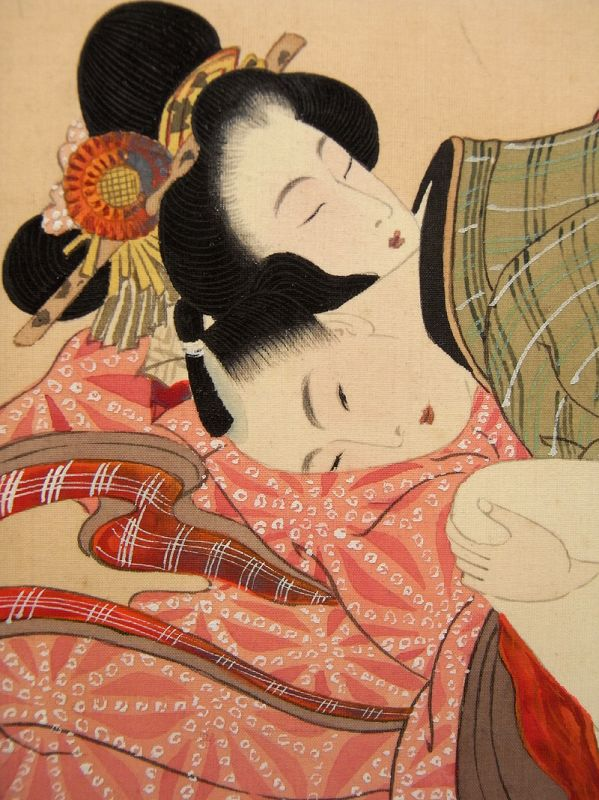 Three well painted Shunga scenes with a loving couples. Meiji period