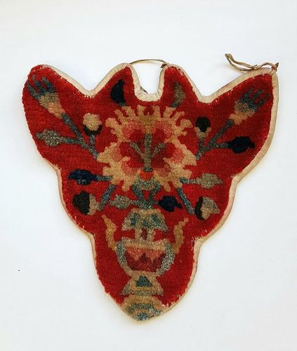 Antique Tibetan Takyab rag with Padma Lotus Flower motif.