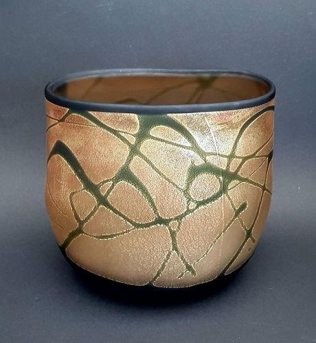 Large glass vase by Tabuchi Koseki made with gold leaf technique