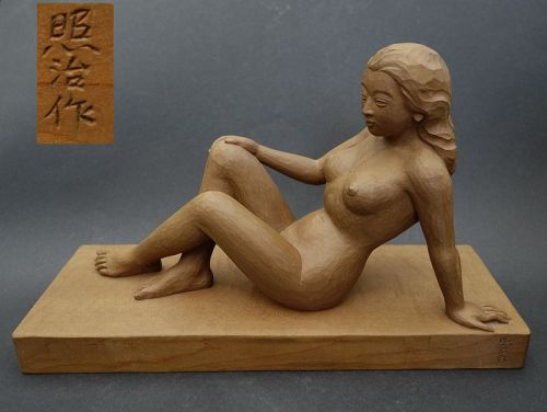 Japanese vintage wood sculpture of a young woman, made by Shoji