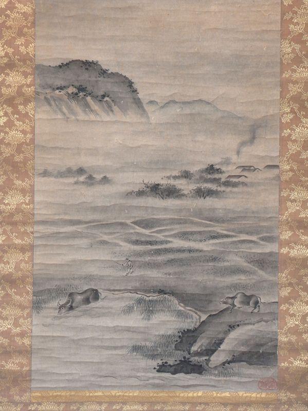 "Zen motive painting "" The herdsman and water buffalos"" Edo"
