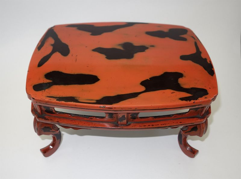 Antique Japanese Negoro Lacquer small table for Incense burner