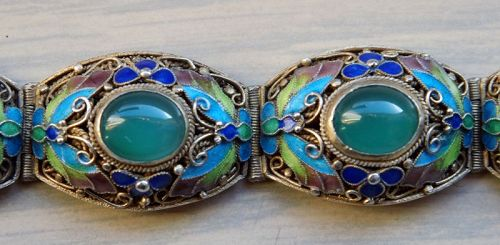 Chinese Silver Filigree Bracelet with Enamel and Chrysoprase