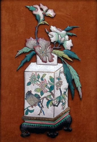 Chinese Enamel Cloisonné plaque, vase with peonies