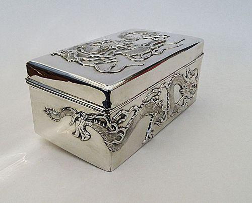 Silver Box with Dragons:  Wang Hing and Co, Hong Kong. Weight: 672 g.