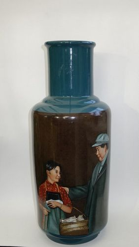 Large Revolutionary Porcelain Vase with Mao and Young Actress, 1968