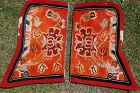 Antique Tibetan wool saddle carpet decorated with peonies