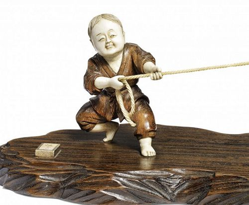 "Antique Japanese  Okimono of the Zen ""Ox-Herding"" theme"