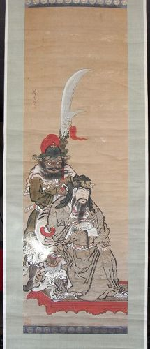 Japanese antique painting depicting Kantei and attendants.