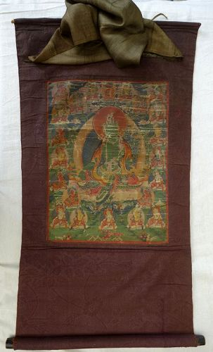 Antique Tibetan Thangka with Green Tara (Shyamatara )