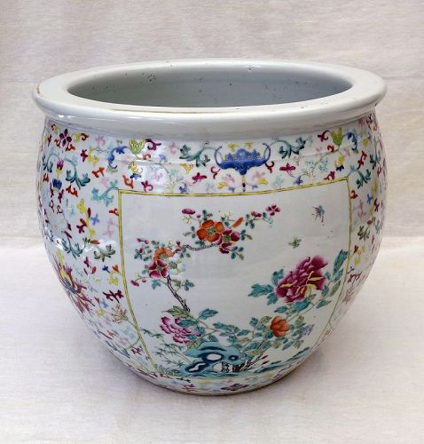 Chinese, Mid 19th cent Famille Rose Jardiniere / Fish Basin