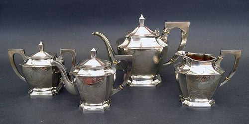 Chinese Export Silver Tea Coffee set, Zee Sung Mark, Shanghai