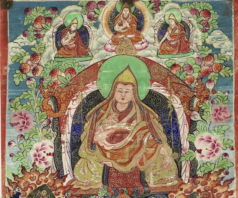 Small Thangka depicting a Gelugpa Master. 19th cent.