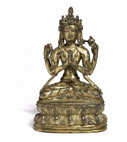 Antique Tibetan Bronze Four Arms Avalokiteshvara Chenrezig