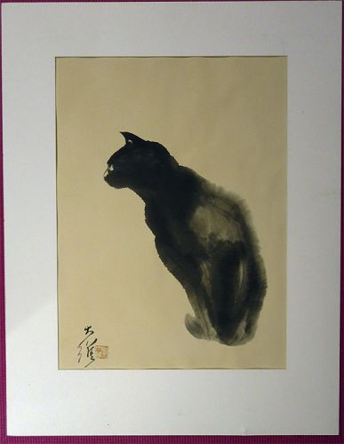 David Kwo Da-Wei (1919-2003) Chinese Lithographic Print Black Cat