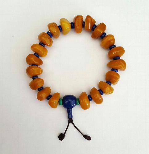 AMBER & Lapis Lazuli BUDDHIST ROSARY - MALA. 60 gr