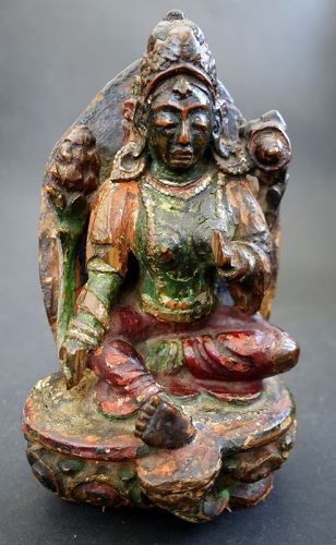 Antique Tibetan painted wood image of Green Tara Bodhisattva