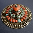 Antique Tibetan Hair Ornament with corals and turquoise, 19th cent.