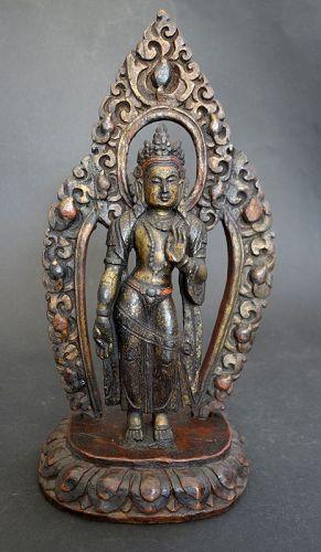 Tibet painted Zitan wood figure of standing Padmapani Bodhisattva