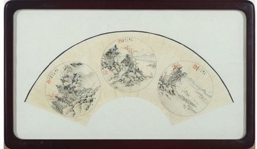 Chinese Fan Painting with three Landscape by Cai Jikui