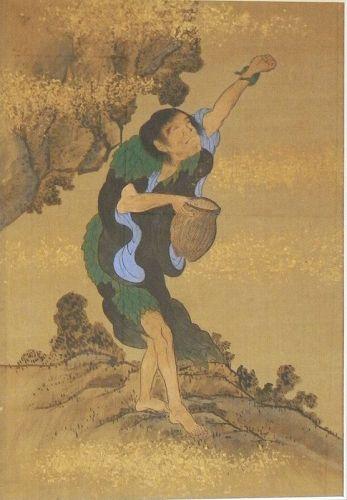 Japanese Edo Period Painting on Silk of Gama Sennin ( Liuha )