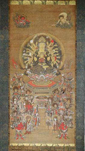 Antique, Large Buddhist Painting with Eleven-Headed Kannon. Edo