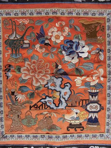 Chinese Silk Textile Embroidered with Antiquities Good Luck Symbols