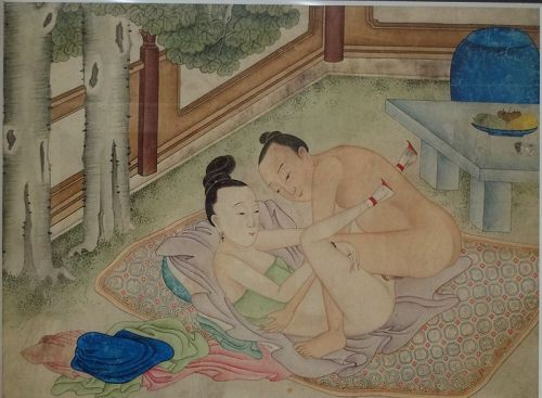 Chinese painting with amorous couple in garden setting