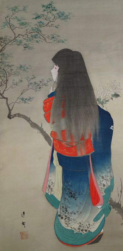 Japanese Bijin Beautiful Girl painting by Nobumaru, Meiji