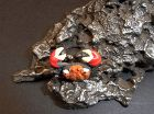 Japanese Unique Okimono Miniature Iron Rock with 3 crabs