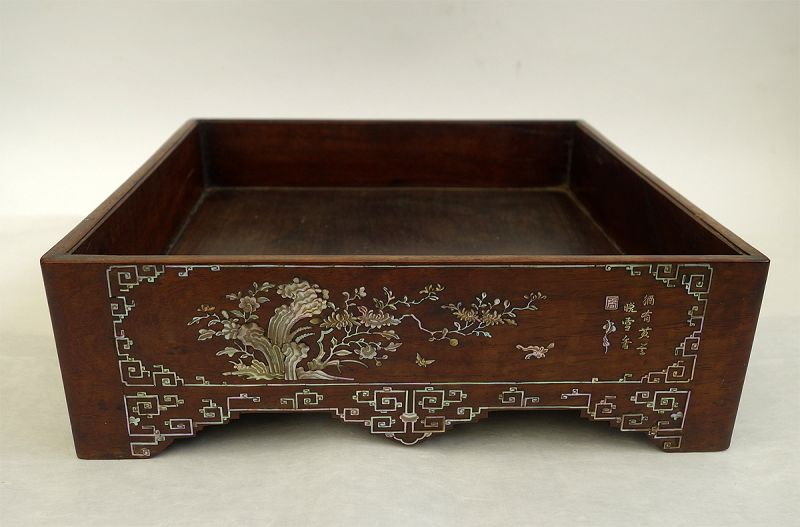 Chinese Hardwood and Mother of Pearl Stationary Tray, Qing