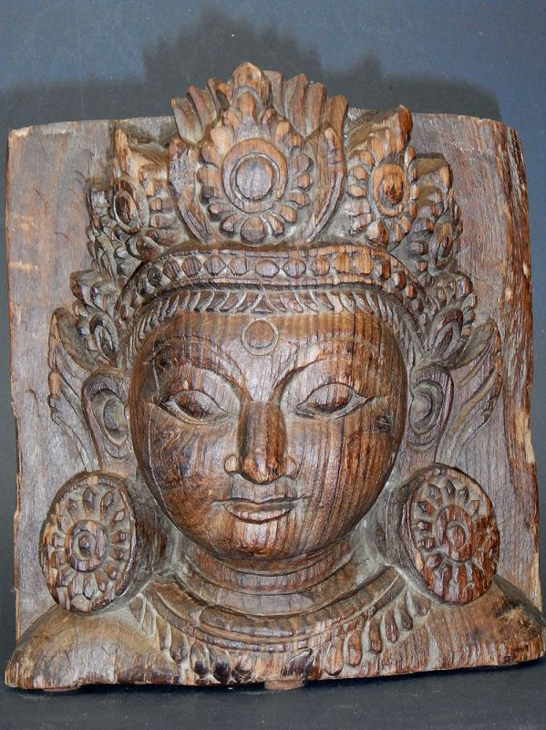 Nepalese Wood Sculpture of Dipankara Buddha Head