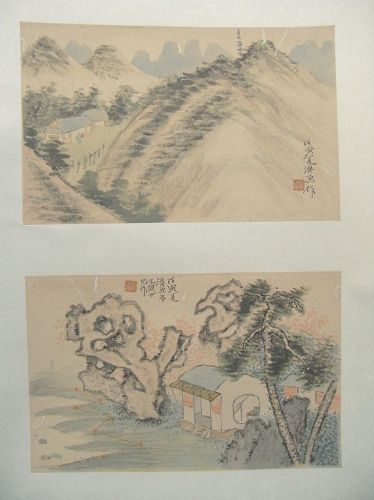Chinese scroll with pair of album leaves. 19th cent.