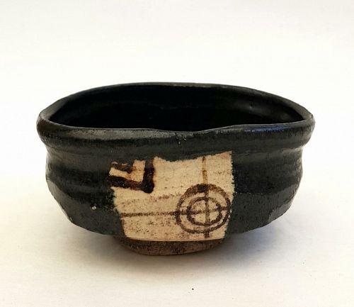 Japanese Antique Tea Ceremony Black Oribe Chawan Teacup