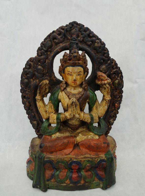 Antique Tibetan Zitan Wood Image of Bodhisattva Chenrezig.