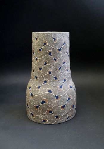 Mishima technique Vase by Ceramic Artist Takeuchi Shingo
