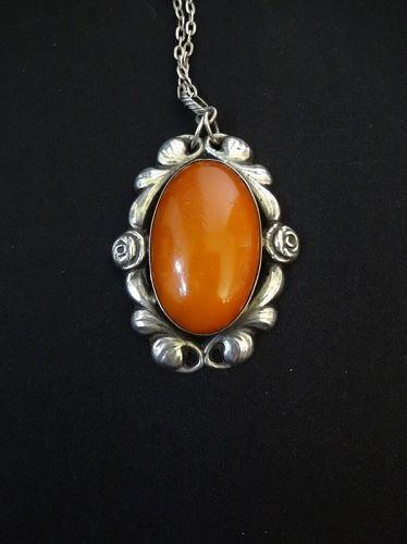 Antique Art Nouveau  Pendant, Amber and Silver.