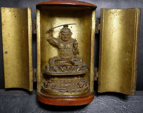 Antique Buddhist travel Shrine Zushi with Mioken Bosatsu