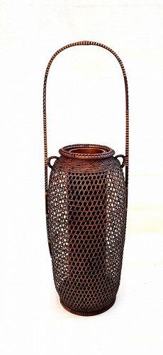 Fine openwork Bamboo Flower Basket, Hanakago by Buseki Suigetsu