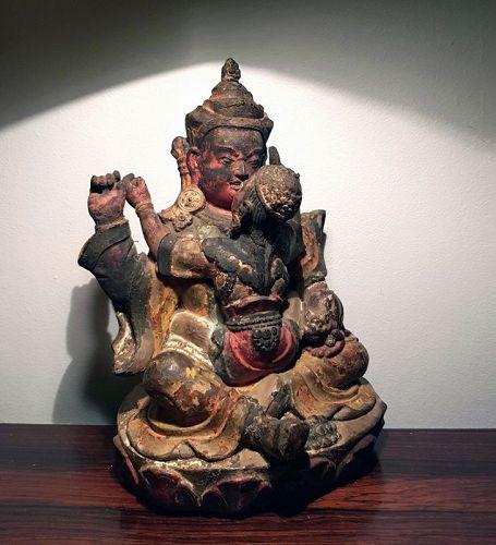 Extremely Rare Tibetan Clay Image of Red Jambala & Consort
