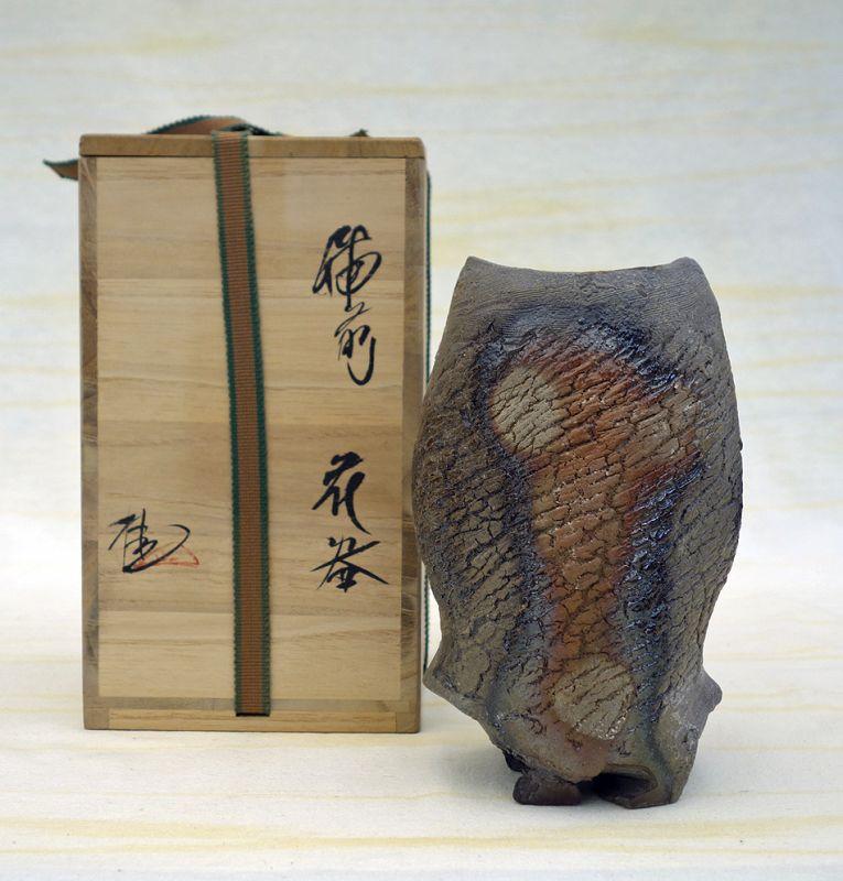 Contemporary Bizen flower vase by Morimoto Kei