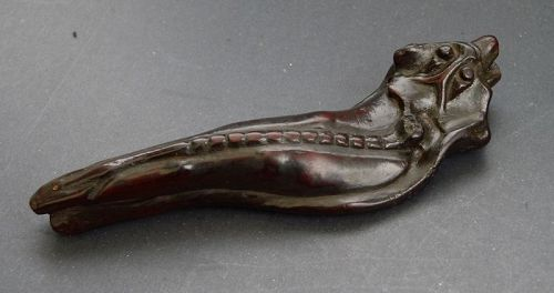 Unusual brush rest in the shape of a dragon-fish. Qing
