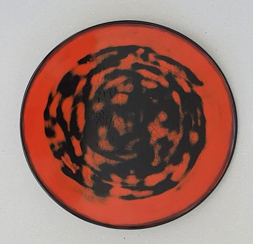 Japanese Vintage Decorative Negoro Lacquer Tray