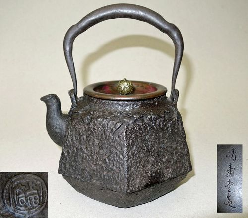 Japanese Antique Tetsubin, Iron Kettle, made by Ueda