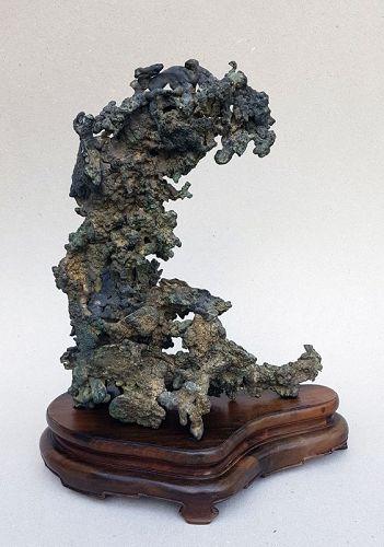 Antique Unique Bronze Sculpture Scholar Rock, Gongshi